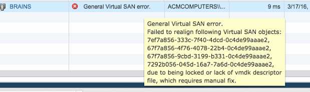 General Virtual SAN Error – Failed to realign following objects – VSAN